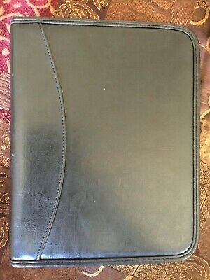 """CLASSIC ~ 1.0"""" Black & Gray LEATHER Day Runner Planner 7 Ring BINDER Franklin"""