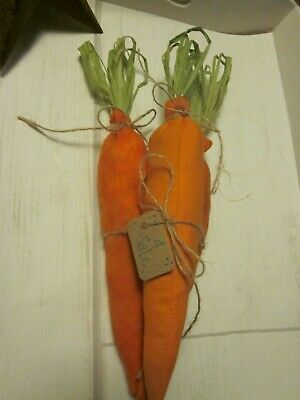 Primitive Easter/Spring  3-Grungy Carrots Bowl Fillers  W/ Hang Tag 10 In Long