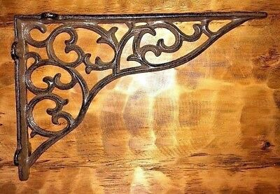SET OF 2 LARGE VICTORIAN VINE SHELF BRACKET BRACE Antique Brown Cast Iron 11""