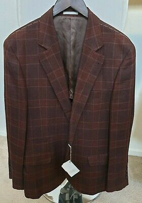 BRUNELLO CUCINELLI  Wool Silk Linen Cashmere Windowpane 3 Button Blazer SZ 52/42