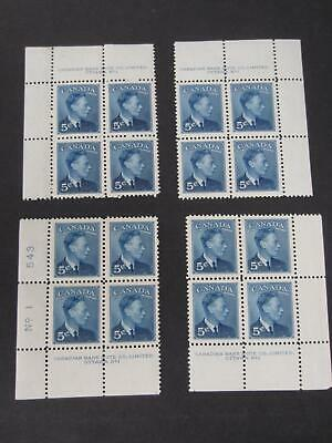 Canada 284 matched set of plate blocks, lh at top of each block -19