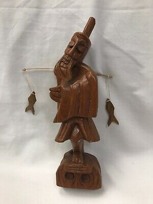 """Antique Carved Wooden Fisherman Figure With Fish 8"""" Tall"""