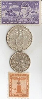 #-10-)-WWII-*stamps+*Two *silver(.900% and.625%)-*german-*WW2 -SILVER EAGLE coin
