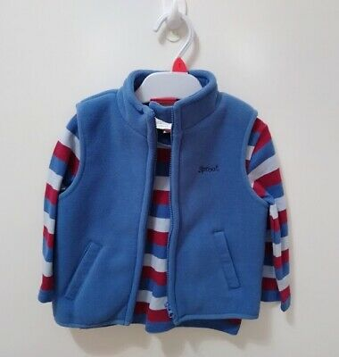 SPROUT Boys SET - Vest & LS Tee - Size 1 Blue & Red (BNWOT)
