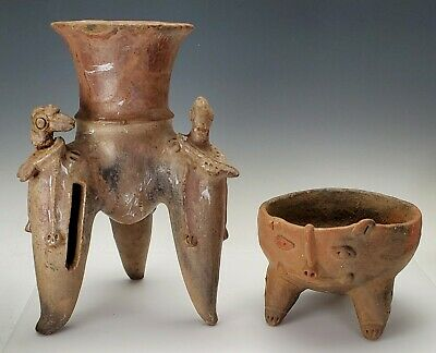 Two Antique / Ancient Pre-Columbian Pottery Vessels - Authentic