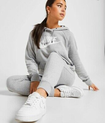 Nike Essential Logo Overhead Hoodie Jumper Pullover Womens Gym Run Yoga Grey L