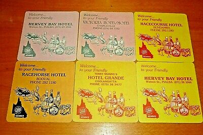 Collectable club coasters - Set of 6 assorted Q. H. A Hotel coasters
