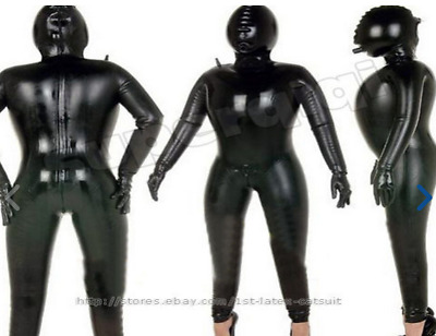 100% Unisex Bodysuit Cosplay Latex Rubber Black Sexy Overall Mask Catsuit S-XXL
