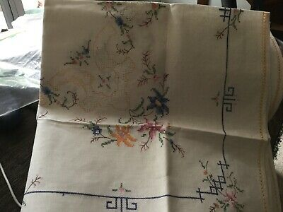 NANs antique 80x80 cm square cross stitched tablecloth unblemished VGUC