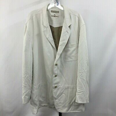 Tommy Bahama Mens XL Ivory 100% SILK Blazer Sport Jacket Looks Fabulous