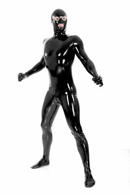 100% Unisex Bodysuit Cosplay Latex Rubber Sexy Black Feet Catsuit 0.4mm S-XXL