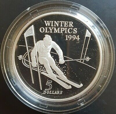 1994 New Zealand: $5 Winter Olympics Large Proof Silver in Mint Capsule only...