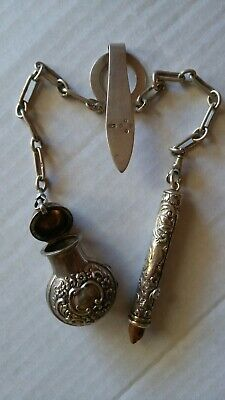 part Sterling Silver CHATELAINE with 2 chains...London 1888