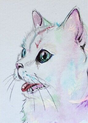ACEO Original painting Almost white cat Watercolor Art Miniature
