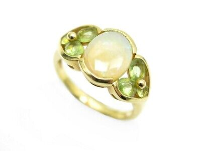 Bague En Or Jaune 18K Opale Et Peridot Taille 52 4.2 Gr Gold Opal Ring Jewel