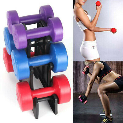 12kg Vinyl Dumbbells Set withStand Weights HomeGym Fitness Aerobic Exercise Iron