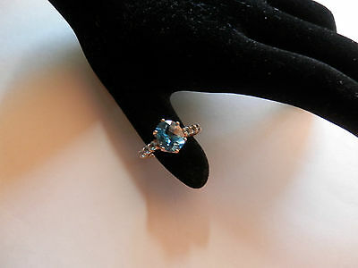 10K Yellow Gold London Blue Topaz & Aquamarine Ring  Size 6