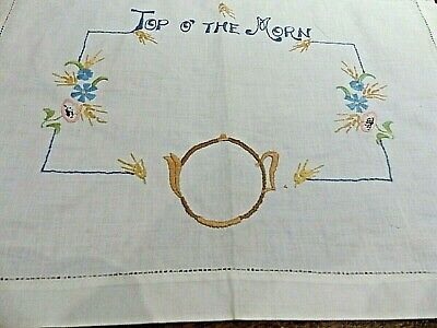 """Vintage """"Top Of The Morn"""" Embroidered Doily"""