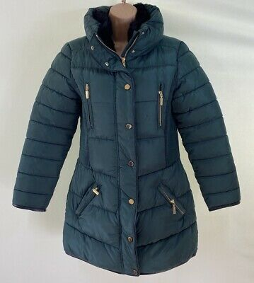 BNWOT NEXT forest green black fur lined puffer coat parka size age 12 years