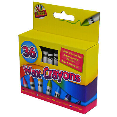 36 Wax Crayons Children Kids Party Colouring Bright Multi Colour