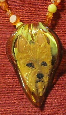 Australian Terrier hand-painted on Murano glass leaf pendant/necklace