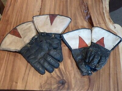 2 Pairs Of His & Hers Old Vintage Leather, Wool Lined Motorcycle Gauntlet Gloves