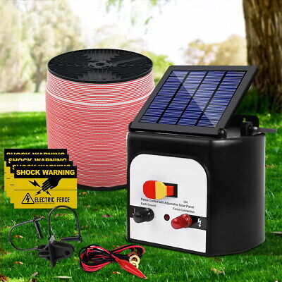 8KM Solar Electric Fence Energiser Energizer Charger Fencing Poly Wire Tape Farm