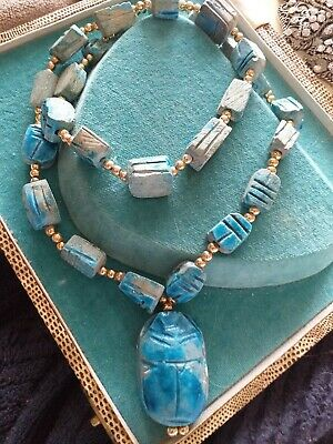 Vintage Egyptian Stone Carved Scarab Beetle Necklace Egypt Pyramid Jewellery
