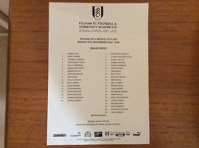 Fulham Ladies v Bristol City Ladies 2004-2005 TEAMSHEET