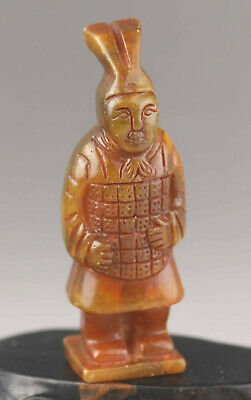 Old Chinese natural jade hand-carved old solider