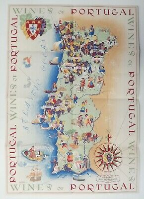 1950 Rare Wines of Portugal beautiful Illustrated Folding Map Old Traditions