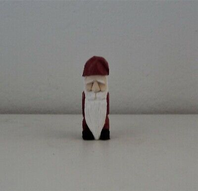 """3"""" hand carved miniature wooden santa"""