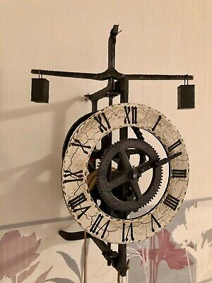 Very Rar Old Tower  Foliot Verge Horizontal Skeleton Wall Clock