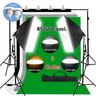 Photography 4 Backdrops Studio Dimmable LED Softbox Lighting Stand Soft Box Kit
