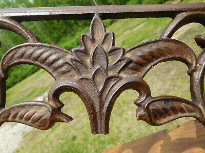 Vintage Arts & Crafts Style Flower & Leaf Cast Iron Piece Wall~Shelf Art Piece