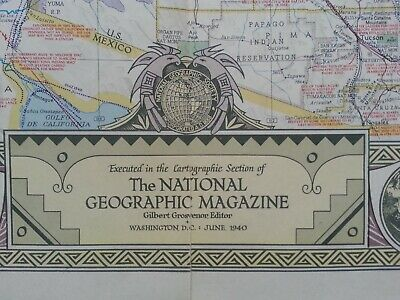Vintage map National Geographic South Western United States June 1940