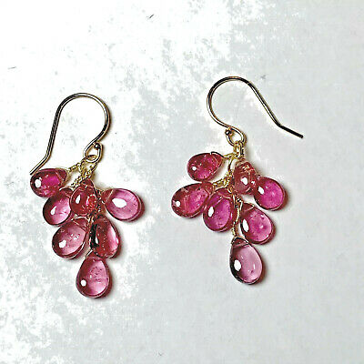 PINK TOURMALINE Earrings 14k Yellow GOLD Candy Smooth Cabochon Teardrops NEW