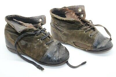 ANTIQUE VICTORIAN EDWARDIAN LEATHER & SUEDE CHILD BABY TODDLER SHOES 1900's