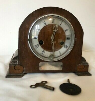 Mantel Clock, Made In England, Enfeild Wooden Clock With Key & Weight #210