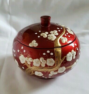 ❀ڿڰۣ❀ ORIENTAL JAPANESE Hand Painted CHERRY BLOSSOM Laquered TRINKET BOX ❀ڿڰۣ❀