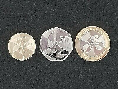 Gibraltar Island Games Coins 50p, £1 and £2 Coins.