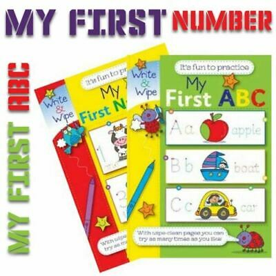 2x Children's Write & Wipe Practice Books   First Numbers & First ABC