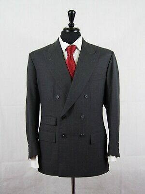 Anderson & Sheppard Peak Lpl Gray Double Breasted Surgeon Cuff Blazer Jacket 42R