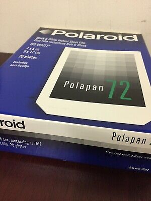 Polaroid 72 sealed box of 20 sheets 4x5 Black and White instant film expired