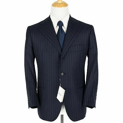 NWT Orazio Luciano Navy White Wool Striped Top Stitch Woven Dual Vents Suit 42S