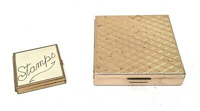 Vintage Pill Box and Stamp Case Brass Gold Tone Hinged