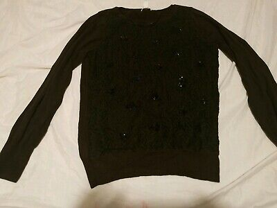 womens petite large black sequin long sleeve stretch sweater Charter Club