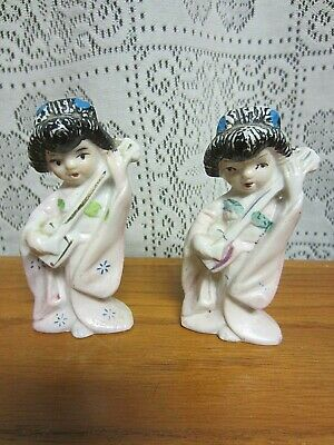 2~Vintage Mid-Century~Geisha Girls With Musical Instruments Figurines Japan