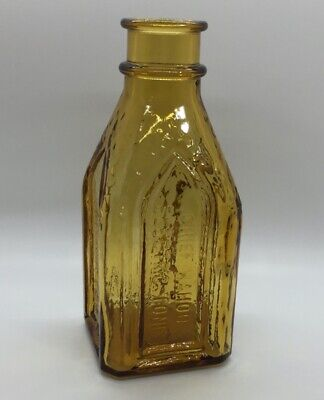 """Wheaton Chief Wahoo Electric Tonic Cathedral Brand Amber Gold Square Bottle 8"""""""