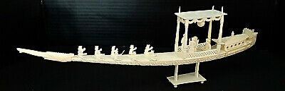 Antique Chinese Hand-Carved Bovine Bone Ship with Figures
